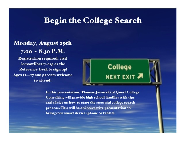 Begin College Search Flyer